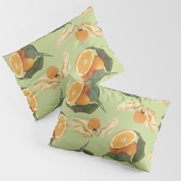 Oranges and Physalis Fruits Pattern on green Background Pillow Sham