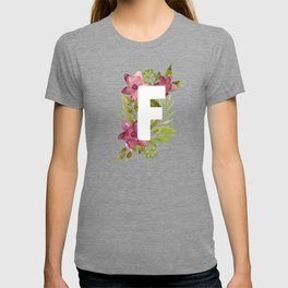 Monogram F with red waercolor flowers and green leaves. Floral letter F. Botanical illustration. T-shirt