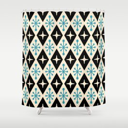 Mid Century Modern Atomic Triangle Pattern 922 Black and Blue Shower Curtain