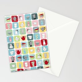 Retro Coffee Pots and Cups Pattern Stationery Cards