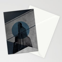 Blue Abstract Building Stationery Cards