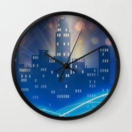 Neon city skyline by night metallic look print Wall Clock