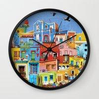 mexico Wall Clocks featuring Mexico by Francesca Sacco