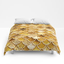 Gold Trendy Glitter Mermaid Scales Comforters