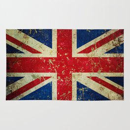 Grunge Scratched Metal Union Jack / British Flag Rug