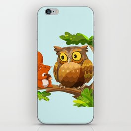 The Owl and The Squirrel iPhone Skin