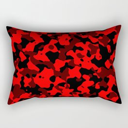 Camouflage Black and Red Rectangular Pillow