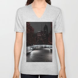 A selective color Image of Chicago's BP Bridge one crisp fall night Unisex V-Neck