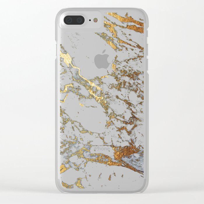 Gold Marble Clear iPhone Case