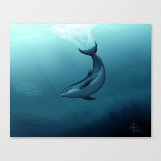 """""""Siren of the Blue Lagoon"""" by Amber Marine ~ Dolphin Art, Digital Painting, (c) 2015 Canvas Print"""