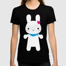 Super Cute Kawaii Bunny MEDIUM Womens Fitted Tee Black