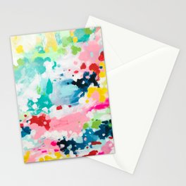 Colorful Fantasy Neon Rainbow Abstract Art Acrylic Painting Fluffy Pastel Clouds by Ejaaz Haniff Stationery Cards