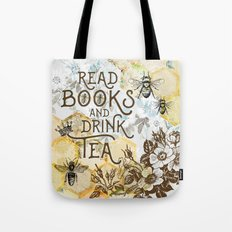 Bee Tea and Books Tote Bag