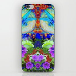 "BLUE ""ZINGER"" DRAGONFLIES  & PURPLE FLOWERS ART iPhone Skin"