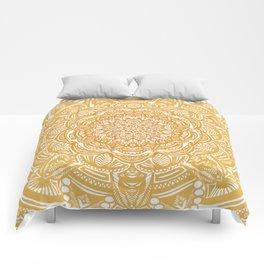 Golden Mustard Yellow Orange Ethnic Mandala Detailed Comforters