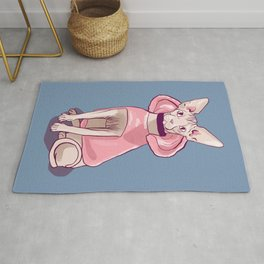 Nude Wrinkly Sphynx Cat Wearing a Pink Hoody - Pastel Colors - Soft Blue Background Rug