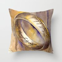 lord of the ring Throw Pillows featuring One Ring by Kinko-White