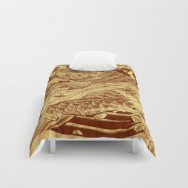 cool unique vintage japanese tattoo koi fish  sun rays vector art Comforters