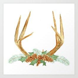 Christmas Antlers Art Print