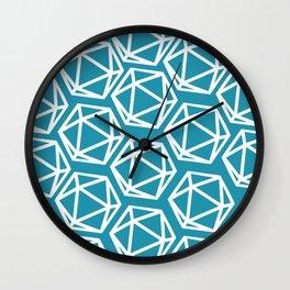D20 Pattern - Blue White Wall Clock