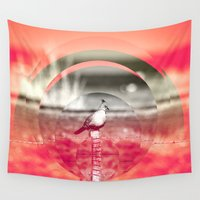 pigeon Wall Tapestries featuring CRESTED PIGEON by My Dear Bambi