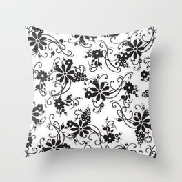 White and black flowers Throw Pillow