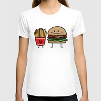 french fries T-shirts featuring Happy Cheeseburger and French Fries by Berenice Limon
