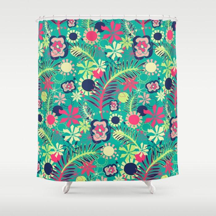 Tropical Flower Fiesta Shower Curtain