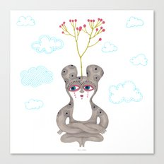 lonely cute creature with rose bush Canvas Print