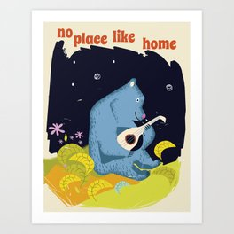 No place like home vintage bear Art Print