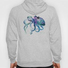 Octopus, Turquoise Green Purple Pink Octopus Design Hoody