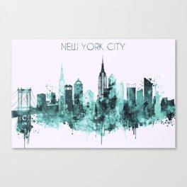 New York City blue watercolor skyline Canvas Print