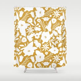 Finley Floral Goldenrod Yellow Shower Curtain
