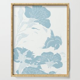 japanese Flowers White and Blue Serving Tray