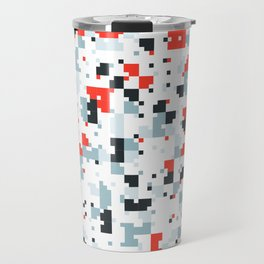 The accent color - Random pixel pattern in red white and blue Travel Mug