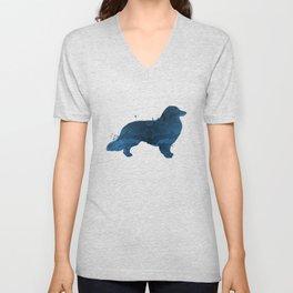 Longhaired dachshund Unisex V-Neck