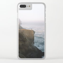 Living on the Edge at Cape Kiwanda Clear iPhone Case