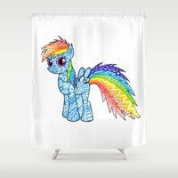 my little pony Shower Curtains featuring My Little Pony Rainbow Dash by Leonnie's Art