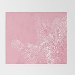 Millennial Pink illumination of Heart White Tropical Palm Hawaii Throw Blanket