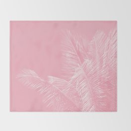 Millennial Pink illumination of Heart White Tropical Palm Hawaii Throw Blanket
