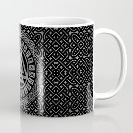 Silver Metallic Valknut Symbol on Celtic Pattern Coffee Mug