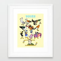 ducks Framed Art Prints featuring Ducks by Natelle Draws Stuff