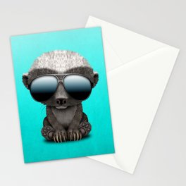 Cute Baby Honey Badger Wearing Sunglasses Stationery Cards