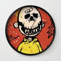 charlie brown Wall Clocks featuring Charlie Brown - The Original Pumpkin King by Neil McKinney