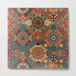 Vintage patchwork with floral mandala elements Metal Print