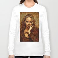 jennifer lawrence Long Sleeve T-shirts featuring Portrait of Jennifer Lawrence by André Joseph Martin