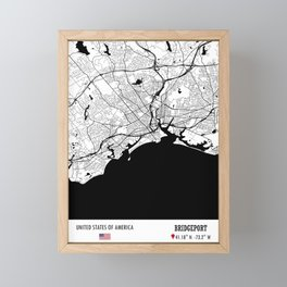 BRIDGEPORT, USA Road Map Art - Earth Tones Framed Mini Art Print
