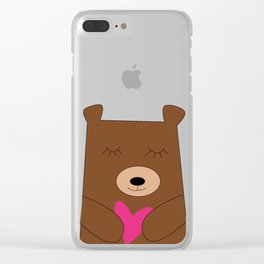 Bear in love Teal Clear iPhone Case