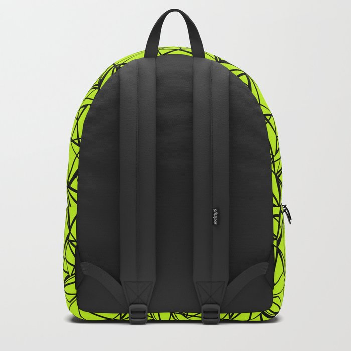 An abstract geometric pattern . Yellow green pattern . Backpack