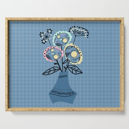 Quilling, flowers in vase Serving Tray